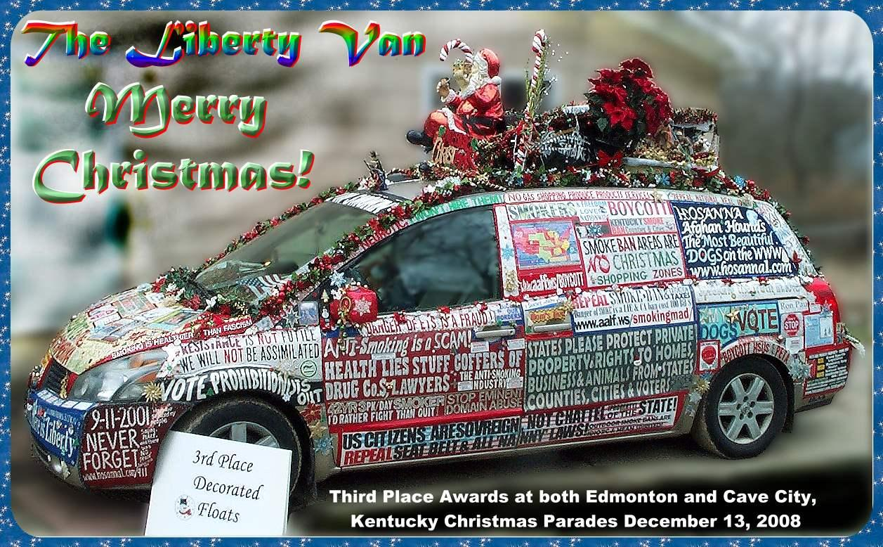 photograph of liberty van smokers rights in decked for christmas parades 2008 drivers side view