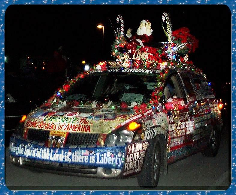 34 front view driver side picture of liberty van at night with - Christmas Car Parade Decorations